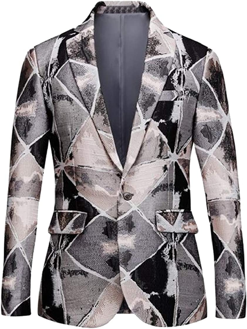 Fubotevic Mens One Button Embroidery Slim Big /& Tall Long Sleeve Blazer Jacket