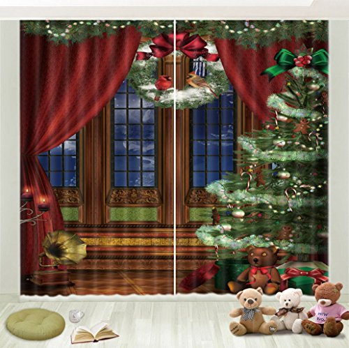 3D Scenic Curtain Drapes by LB, Holiday Theme Image of Decorated Green Christmas Tree by Window for Living Room Bedroom Kids Room, 2 Panels Set Window Treatment Panels 80x63 Inches