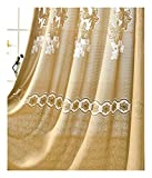 Aside Bside Sheer Curtains Pond Style Rod Pockets Lily Jacquard Voile Drapes Home Treatment For Child Room Houseroom and Kitchen (1 Panel, W 52 x L 63 inch, Yellow)