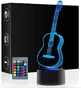Christmas Gift Guitar 3D Illusion Birthday Present Lamp, Gawell 16 Color Changing Touch Switch Table Desk Decoration Night Lamp with Acrylic Flat & ABS Base & USB Cable Toy for Music Lover