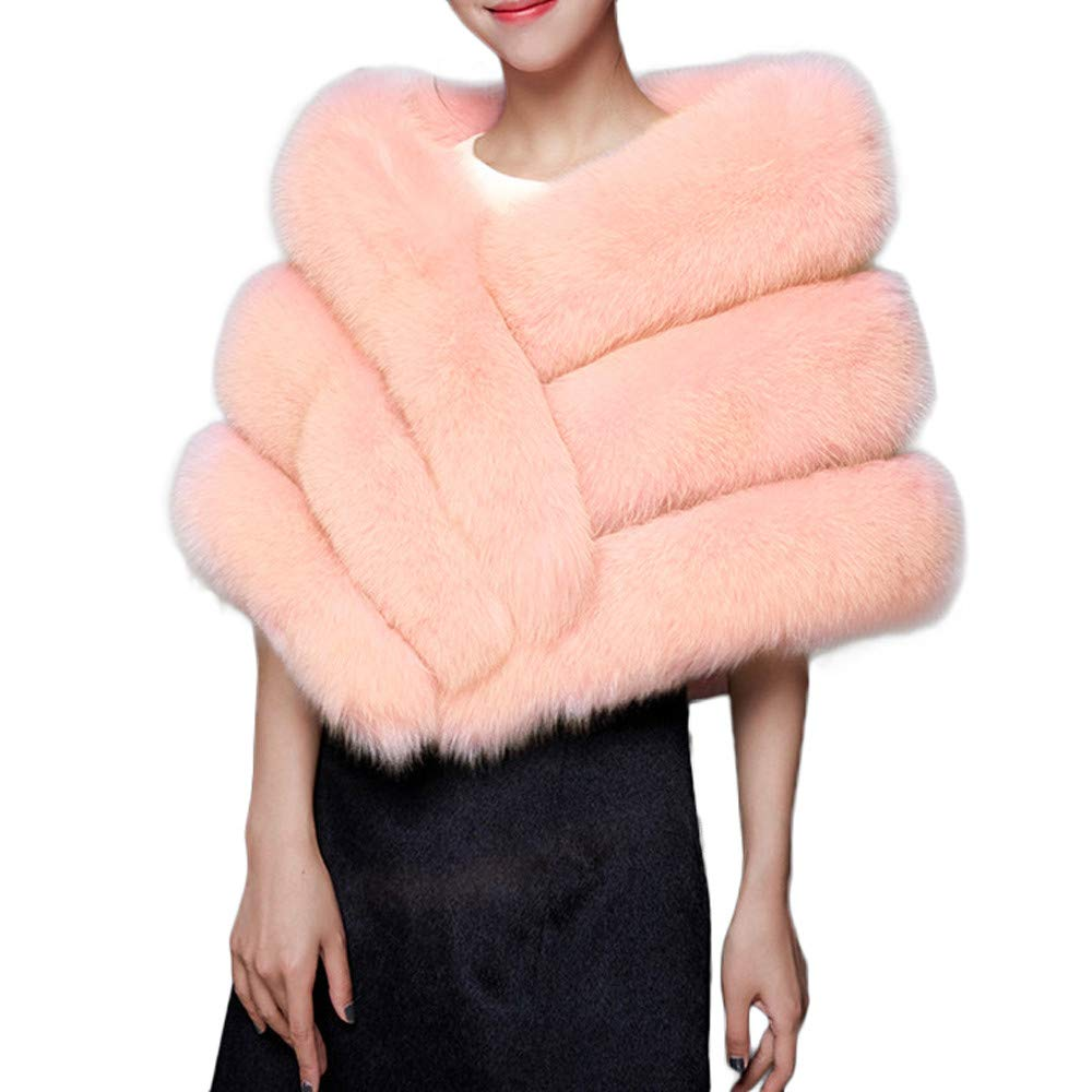 GREFER Faux Fur Shawl Wrap Stole Shrug Winter Bridal Wedding Evening Party Cover Up (Pink)