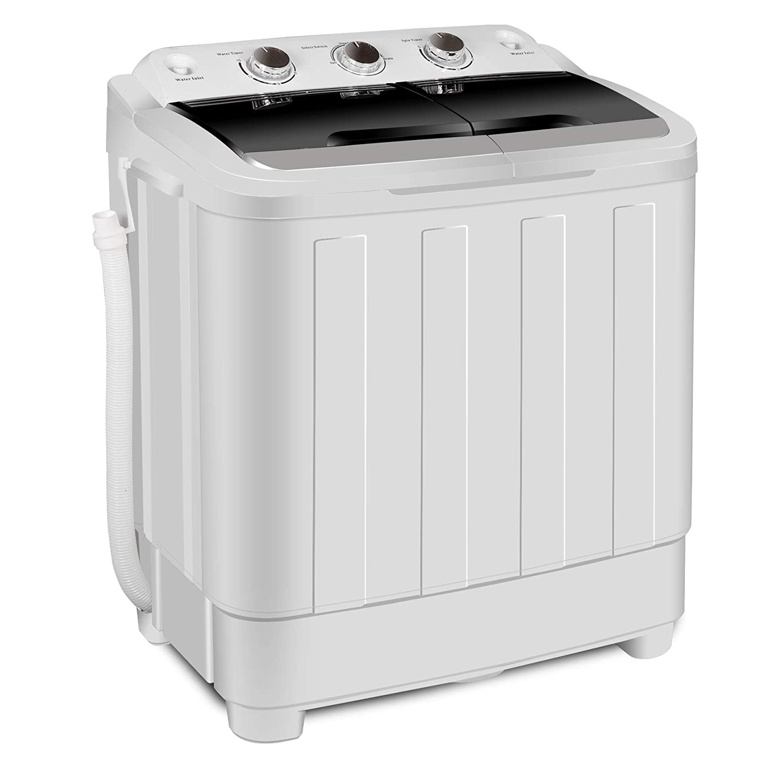 17.6lbs Portable Compact Washer Mini Twin Tub Washing Machine Electric Automatic Load Laundry includes Spin Cycle Dryer and Gravity Drain Pump, Hose for Apartments, Dorm Rooms, RV' s, White and Black JupiterForce