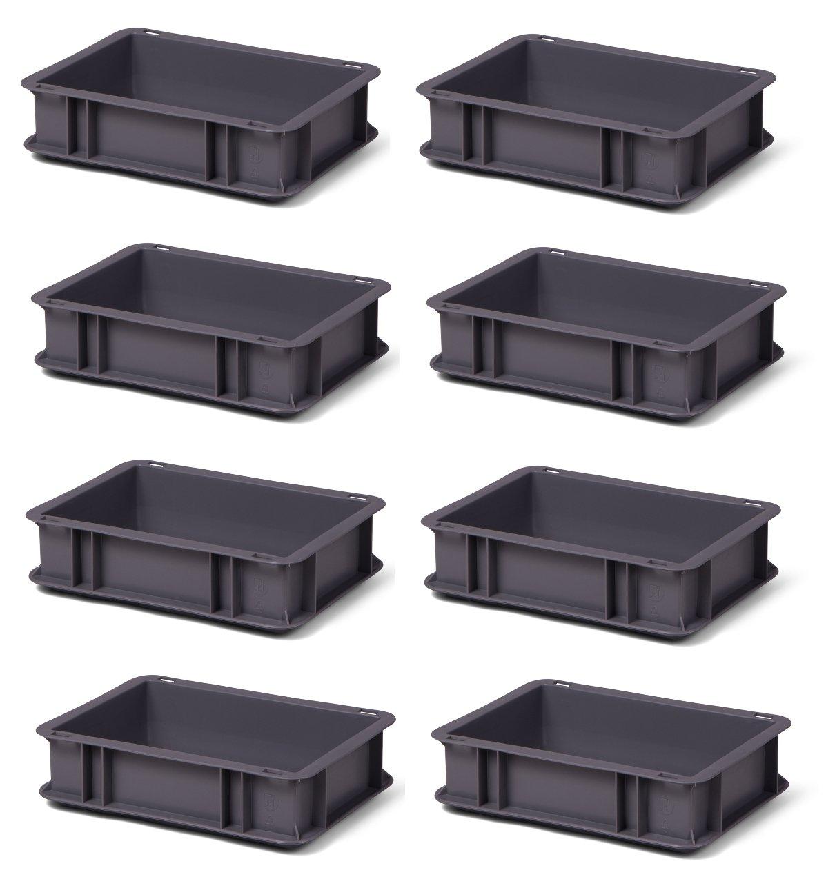 8 Stk. Transport-Stapelkasten TK375-0, grau, 300x200x75 mm (LxBxH), aus PP, Volumen: 3 Liter, Traglast: 25 kg, lebensmittelecht, made in Germany, Industriequalität 1a-Topstore