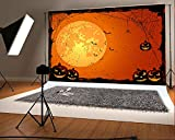 7x5 ft Halloween Photo Backgrounds Moon Pumpkin Face Spider Web Photography Backdrops Wrinkle free Seamless Cotton Cloth