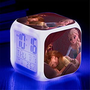 Feng Astar Bedroom Alarm Clock for Kids, Bedside Alarm Clock with 7 Color Night Light, Mini Music Wake Up Alarm Clock with 8 Sounds, Gift for Boys Girls,I
