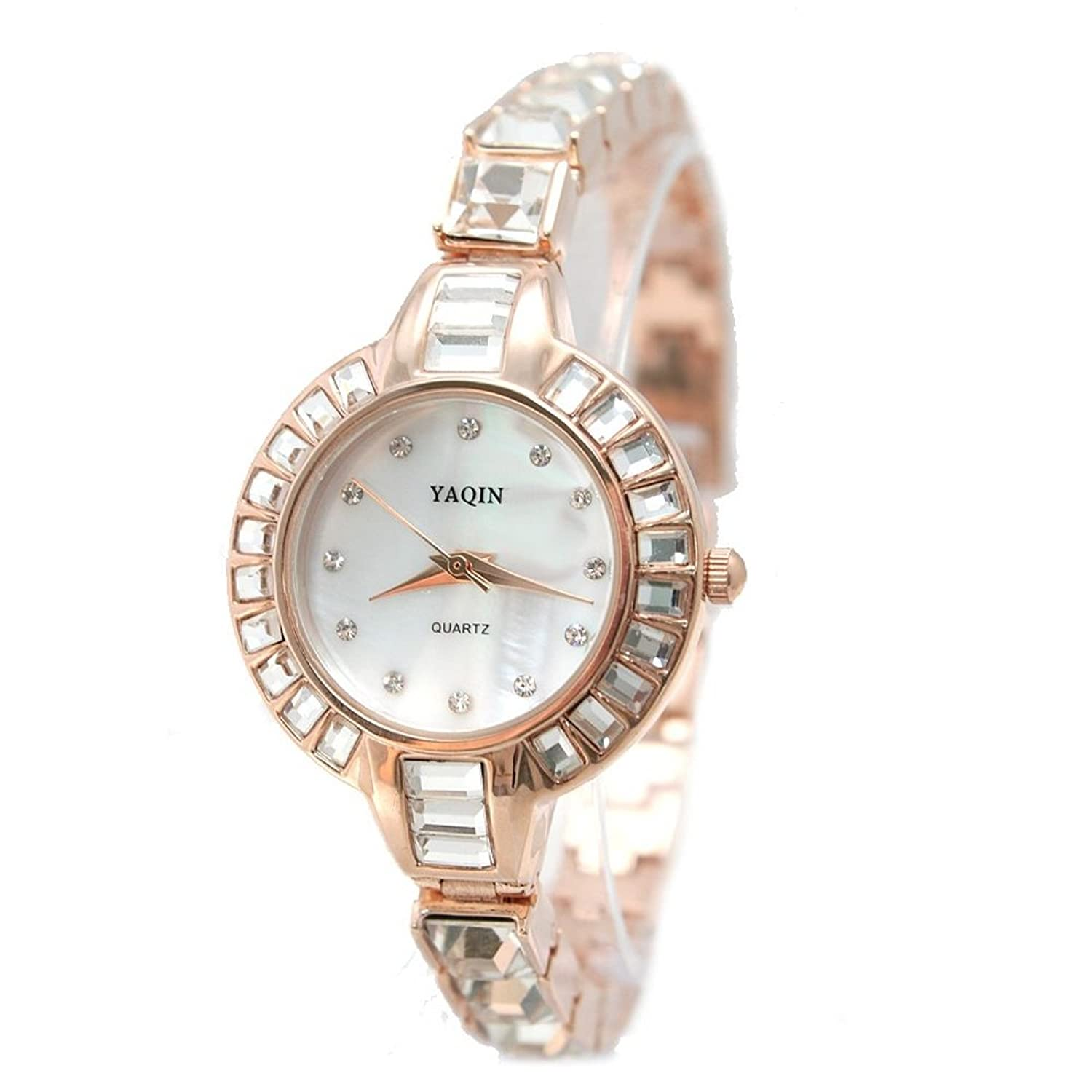 USFW864A New Round Rose Gold Tone Watchcase White Dial Ladies Women Bracelet Watch
