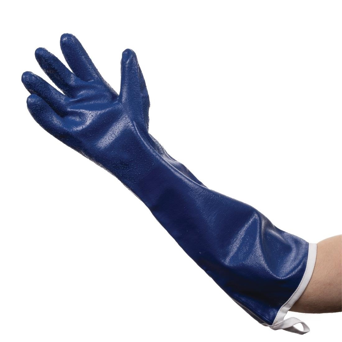 Tucker Safety 92204 Products Tucker SteamGlove Utility Glove, Nitrile, Cotton Lined, 20'', Large, Blue (Pack of 6)