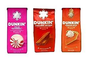Dunkin Donuts Coffee Seasonal Ground Coffee Variety Pack - Polar Peppermint, Cinnamon Nutmeg, and Pumpkin Spice - 33 oz Total - 11 oz Per Bag - Bulk Limited Edition Dunkin Coffee
