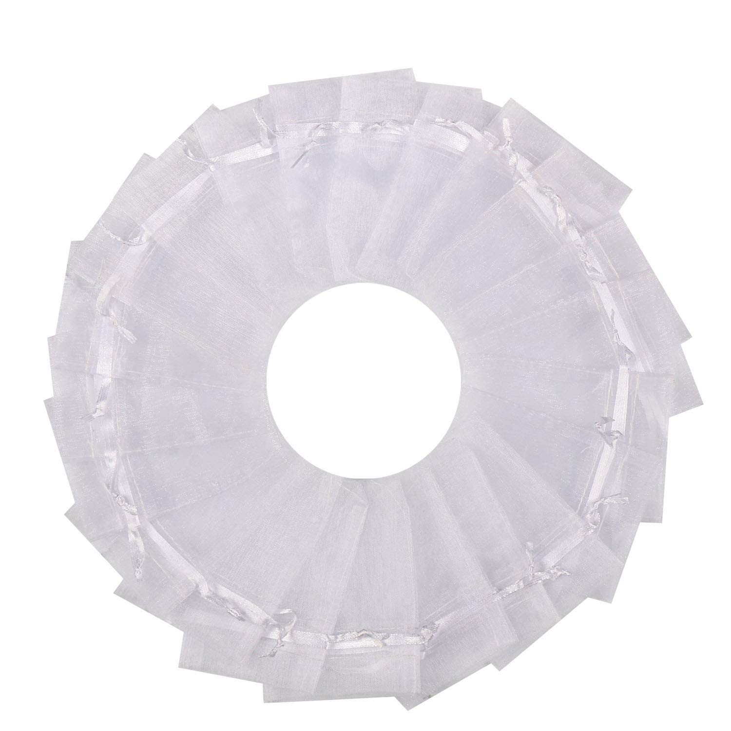SumDirect 100PCS 3x4 Inches Organza Gift Bags with Drawstring-White