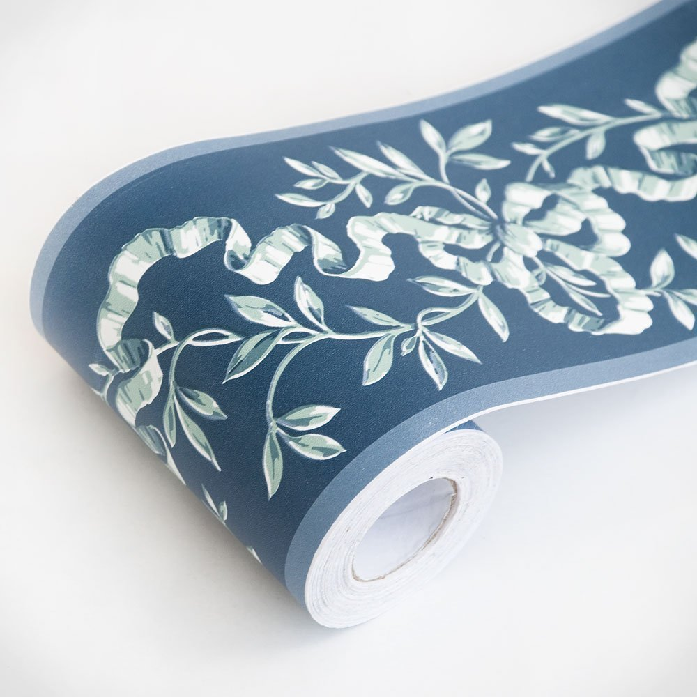 SimpleLife4U Vintage Floral Wallpaper Border Peel & Stick Wall Borders Bathroom Kitchen Decor Sticker