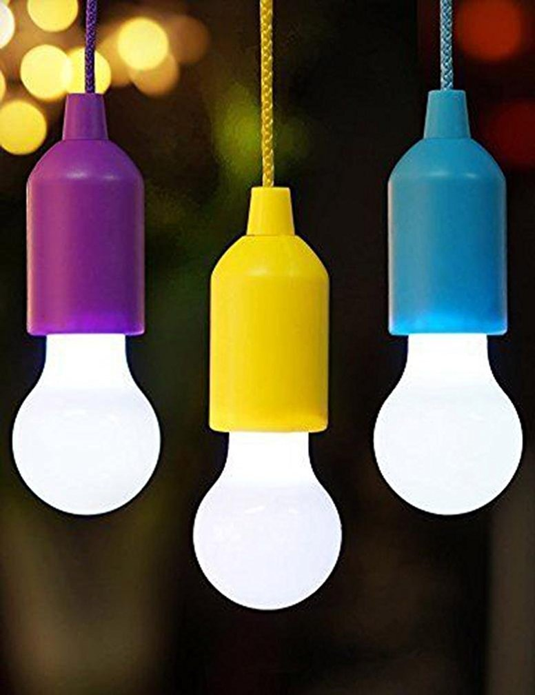 Discount Bright Pull Cord LED Light, Kemilove Portable Outdoor Garden Camping Hanging LED Light Lamp (Blue) free shipping