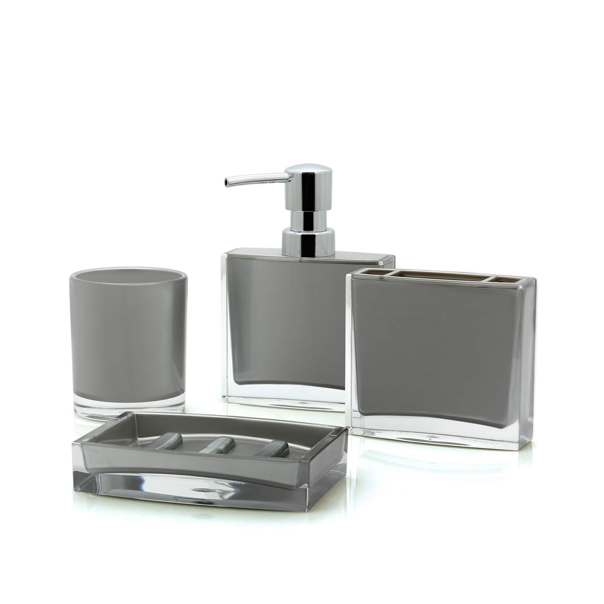 IMMANUEL Iced 4 Piece Bathroom Accessory Set - Gray