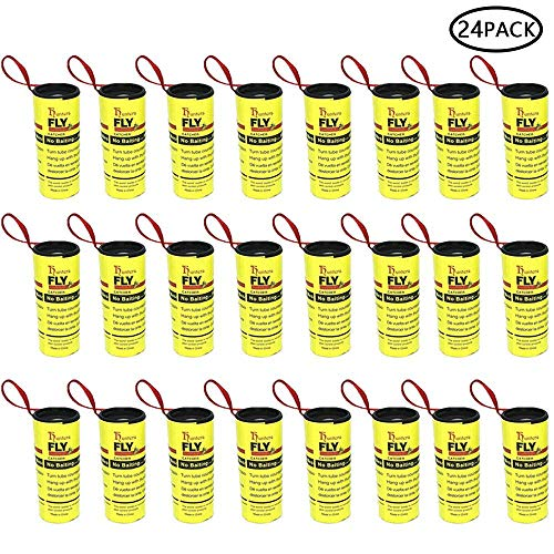 Pawaca 24 PCS Fly Paper Ribbons, Sticky Fly Catcher Trap, Fly Paper Strips,Fly Trap, Eco-Friendly Flies Insect Control for Gnats, Mosquitos, Moth Indoor or Outdoor - 100% Non-Toxic