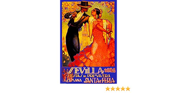 Amazon.com: A SLICE IN TIME 1928 Feria de Sevilla Fair of Seville Spain Vintage Travel Advertisement Art Collectible Wall Decor Poster Print.