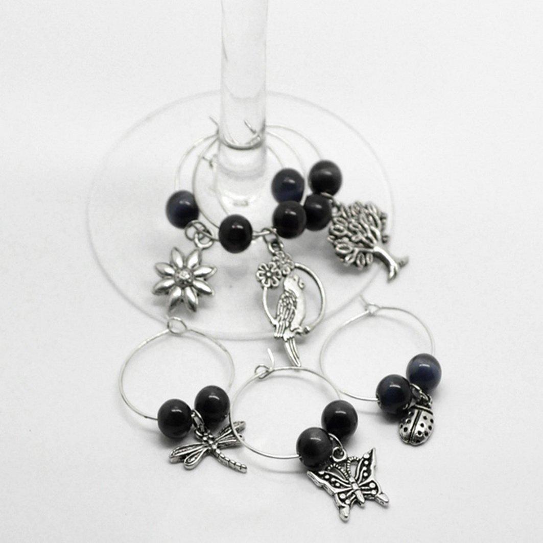 Souarts Mixed 6pcs Glass Charms Marker Tags Set Christmas Snowflake Life Tree Dragonfly Pendants by Souarts (Image #1)