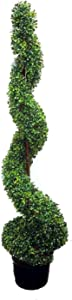 Admired By Nature 5' Artificial Spiral Boxwood Topiary Plant Tree in Plastic Pot, Green/Two-tone