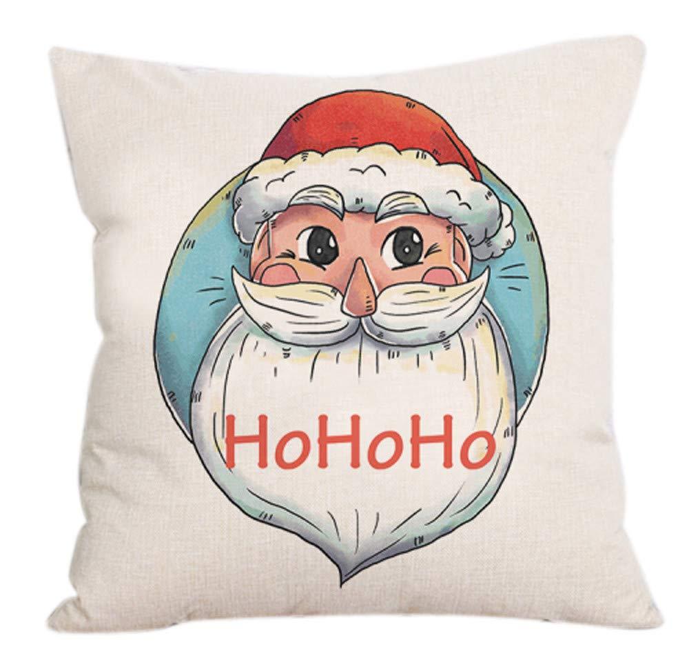 New CZYCO1PC Linen Pillowcase,Merry Christmas Square Pillow Covers Throw Pillow Case Pillowslip for Home Sofa Car Bed Decor(D,18x18