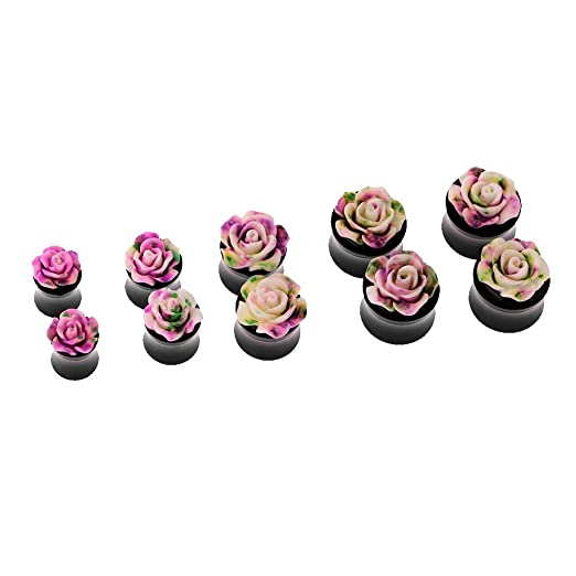 MagiDeal 1 Par Túnel Tapones para Oídos Orejas Perforación Piercing Forma Flor Rosa - Rosado, 10mm: Amazon.es: Juguetes y juegos