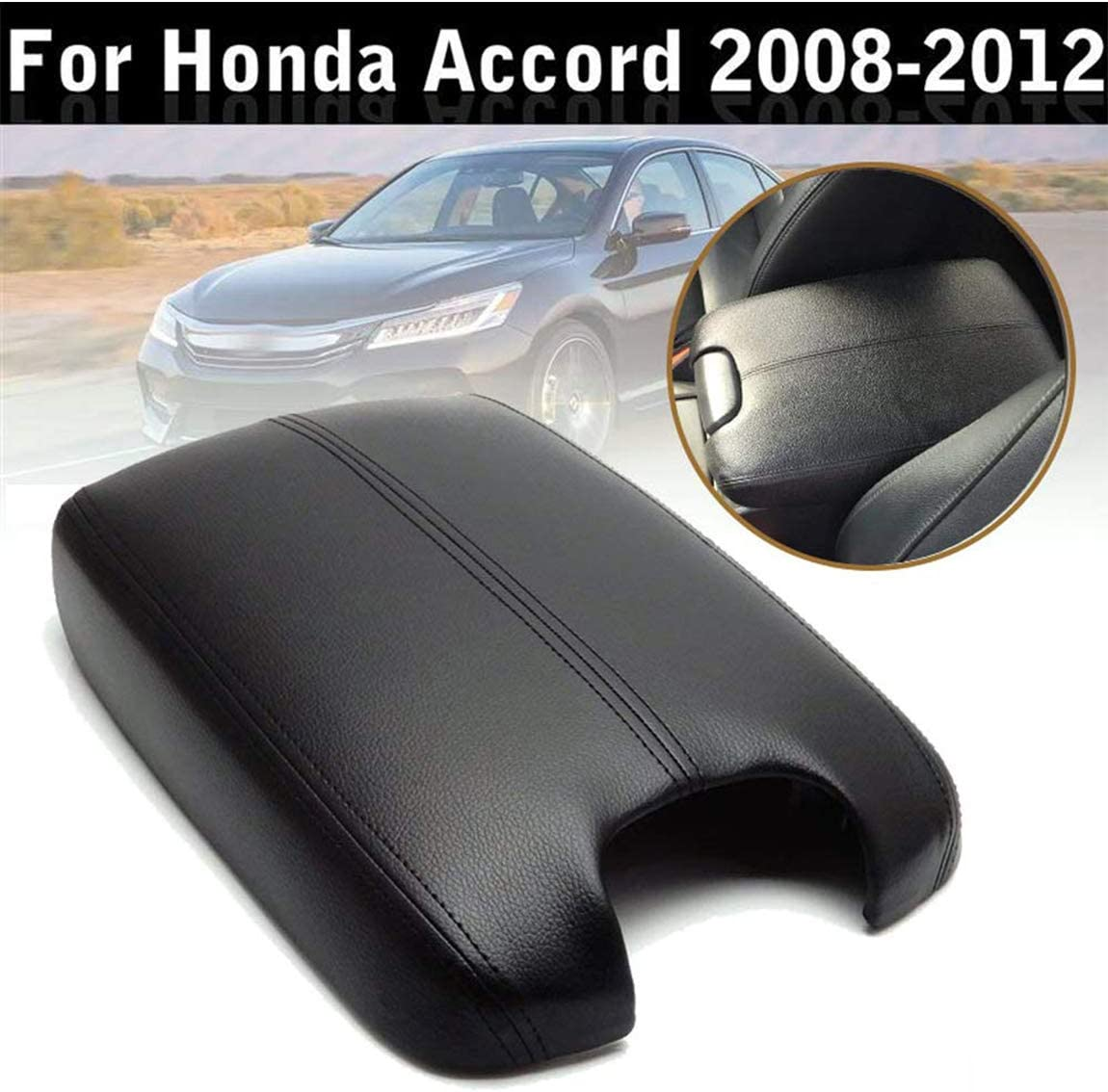 Gray PU Leather Center Console Lid Armrest Cover Skin For 2008-2012 Honda Accord