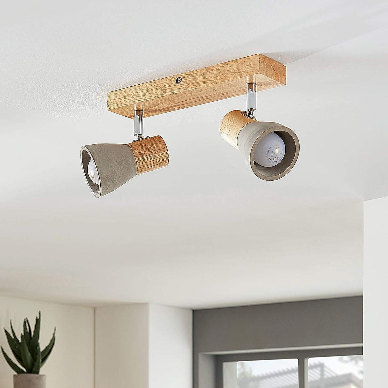 Lindby LED-Deckenspot Mirka Kiefernholz Beton dimmbar industrial grau Holz LED