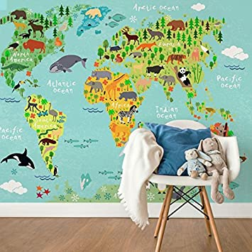 Amazon kids world map wall mural premium fleece wallpaper kids world map wall mural premium fleece wallpaper large on roll 137x102 gumiabroncs Image collections