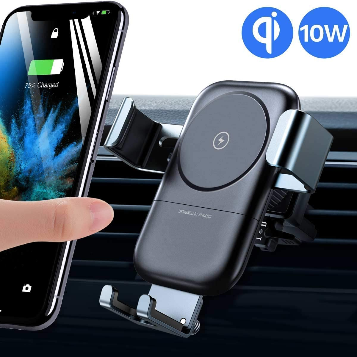 andobil Upgraded Wireless Car Charger Mount, Auto clamping 10W7.5W QI Fast Charging High Stability Adjustable Car Phone Holder 2 In 1 Air Vent for