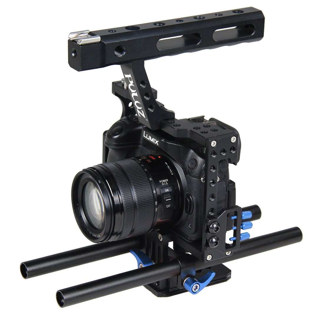 Camera Video Cage Rig, PULUZ Professional Aluminum Alloy Handheld Stabilizer Stabilizing Kit with Top Handle Grip + Rail Rod for Panasonic G7 Lumix DMC-GH4/ GH3 & Sony A7/ A7S/ A7R/ A7RII/ A7SII(Blue)