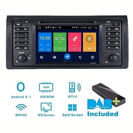 Radio estéreo para Coche Android 8.1 Dab+ (Incluido) para BMW E39 X5 E53 7