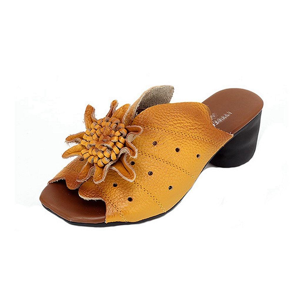 GIY Women's Platform Heel Slide Sandals Peep Toe Comfort Retro Flower Dress Wedges Sandals Slipper Black