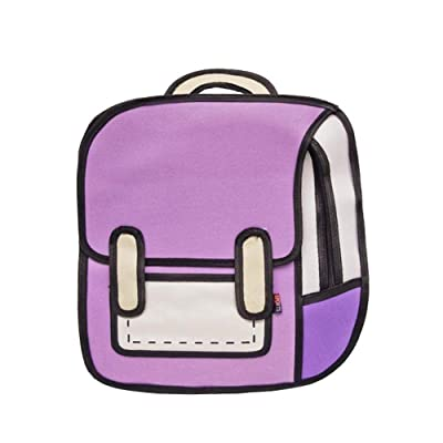 3D Jump Style 2D Drawing From Cartoon Paper Shoulder Bag Comic Backpack Bookbag (Purple): Shoes