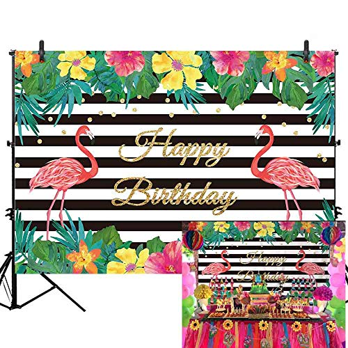 - Allenjoy 7x5ft Summer Flamingo Party Happy Birthday Party Black and White Banner Backdrop Tropical Hawaiian Beach Luau Photography Background Girls Kids Children Party Decor Photo Booth