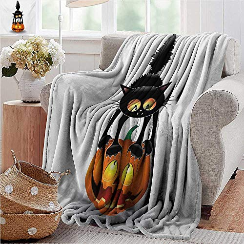 XavieraDoherty Picnic Blanket,Halloween,Black Cat on Pumpkin Drawing Spooky Cartoon Characters Halloween Humor Art,Orange Black,Colorful | Home, Couch, Outdoor, Travel Use 70