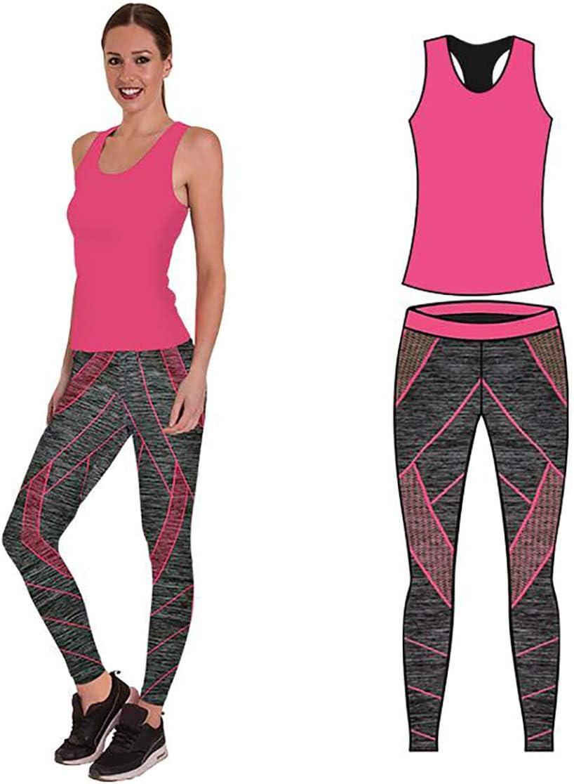 set da 2 pezzi, top e leggings set da palestra o per yoga elasticizzato Bonjour Abbigliamento sportivo da donna//canotta e leggings
