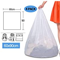 """Qulable Mesh Laundry Bags- Large Heavy Duty Mesh Laundry Bag Washing Bags White Wash Bag with Drawstring for Factories, College, Dorm and Travel (Size: 24"""" x 36"""") (4 Pack)."""