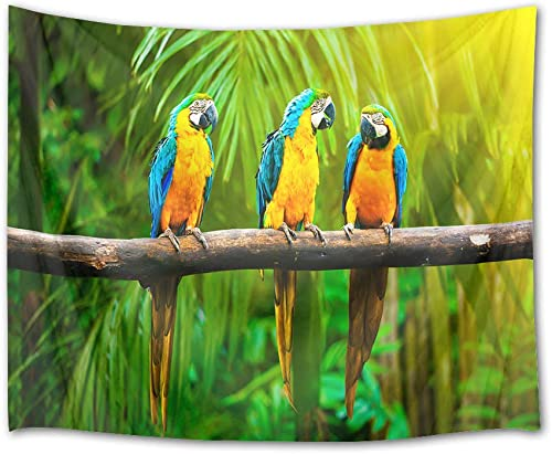 HVEST Parrots Tapestry Rainforest Wall Hanging Tropical Birds with Green Palm Leaves in Jungle Wall Tapestries for Bedroom Living Room Dorm Party Decor,92.5Wx70.9H inches