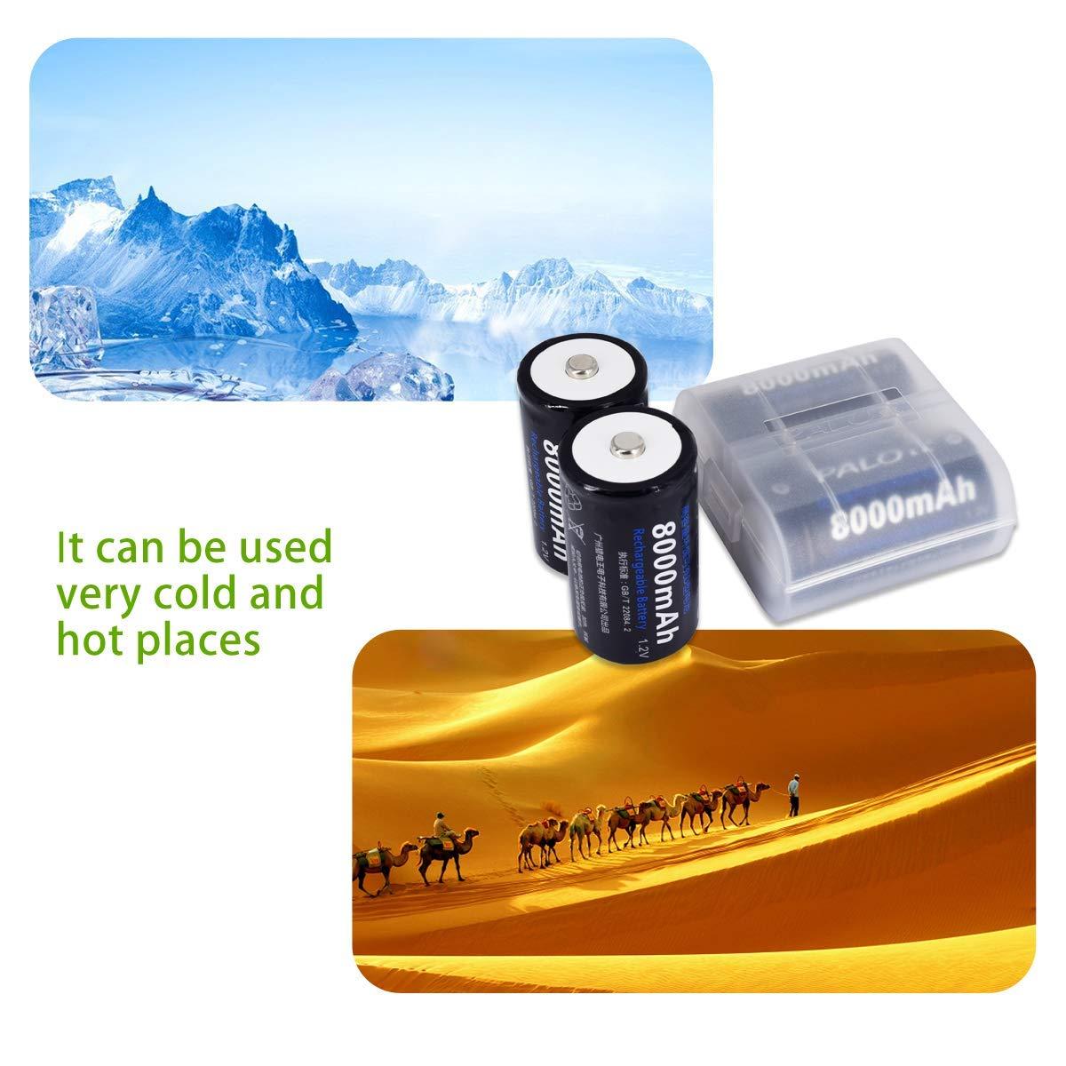 Palo 4pcs C Cell 4000mAh Bater/ías Recargables con 8 Ranuras AA//AAA//C//D Ni-MH Ni-CD Cargador de bater/ía