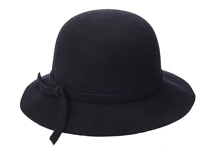 Women Lady Wool Church Cloche Cap Floopy Trilby Bucket Top Hat Bowler Hats  (Black) 8f6dfce99a7