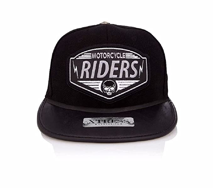 Xtress Exclusive Gorra negra de visera plana con el logo RIDERS. Unisex: Amazon.es: Ropa y accesorios