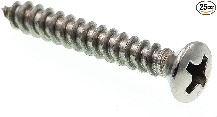 "8 x 1/"" phillips oval head stainless sheet metal screw 25pk"