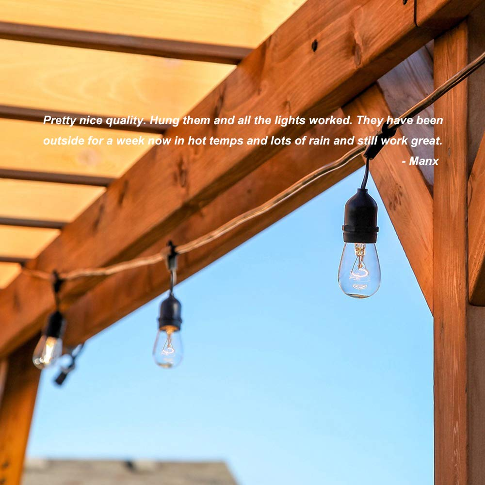 Classyke 48ft Indoor Outdoor String Lights for Patio Garden Yard Deck Cafe Dimmable Weatherproof Commercial Grade [UL Listed] - Incandescent by Classyke (Image #4)