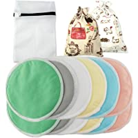 Almohadillas de lactancia contorneadas, reutilizables, lavables, de bambú | Paquete de 12 almohadillas de lactancia orgánica de bambú con 3 bolsas de BONIFICACIÓN
