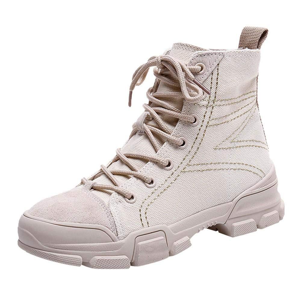 Logobeing Botines Mujer Tacon Moda Botas de Moto Mujer y VersáTiles Botas de Cordones Británicas Altas Boots Zapatos Combat (36,Beige): Amazon.es: Equipaje