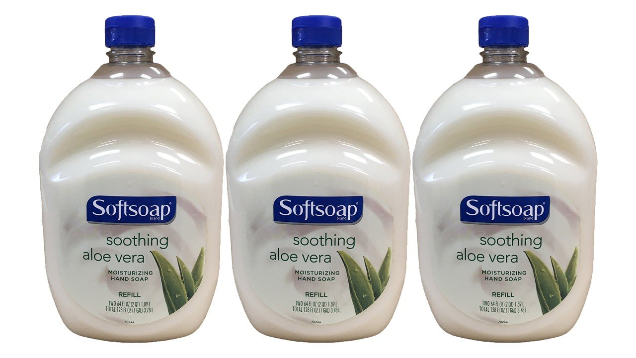 Softsoap Hand Soap Soothing Aloe Vera Moisturizing Hand Soap Refill 64 Fluid Ounce Bottle, Pack of 3