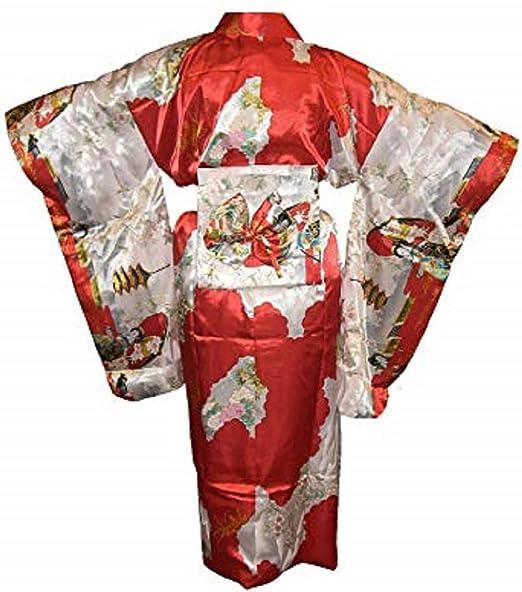 Amazon.com: Kimono de satén traje adulto, color rojo: Clothing