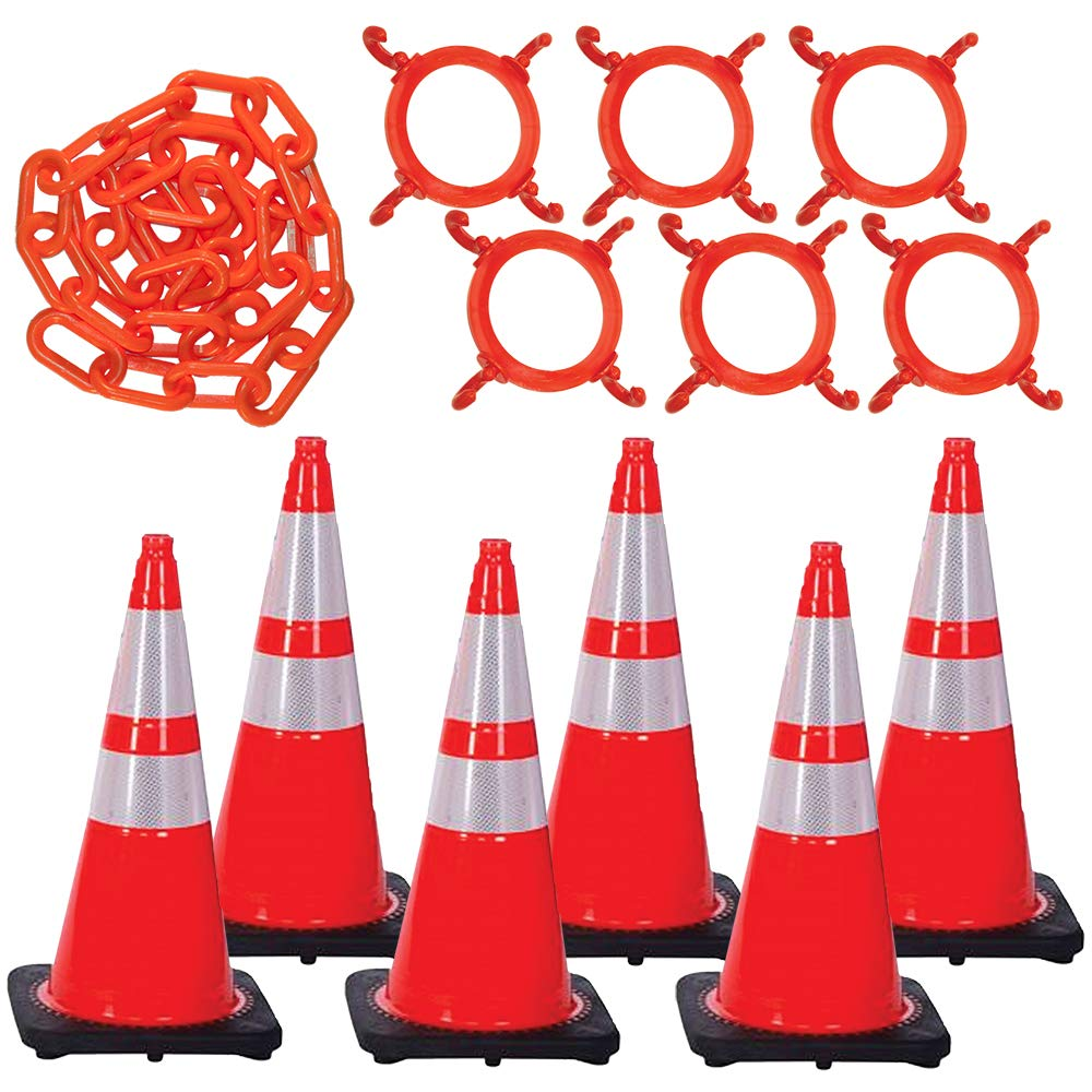 Mr. Chain Traffic Cone and Chain Kit, Traffic Orange with Reflective Collar, 28-Inch Height (93280-6)