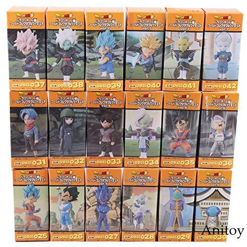 Dragon Ball Super PVC Figures Toys - Super Saiyan Blue Son Goku Gohan Vegeta Trunks Mai Zamasu Black Goku Figure Toys - 18pcs/Set