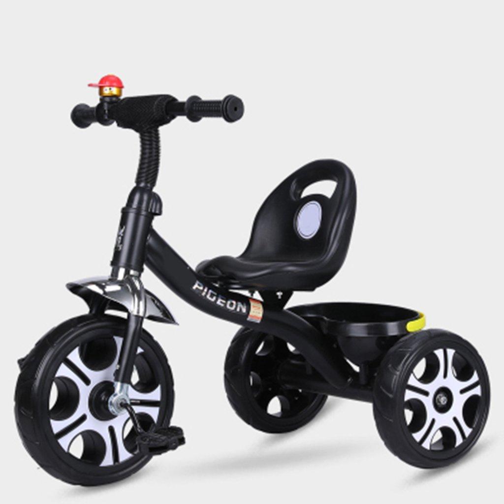 YANGFEI ベビーカー 子供の三輪車1-6歳の軽量自転車非膨張防爆フォーム車輪自転車 ショックアブソーバタイヤ  黒 B07L2FGFJK