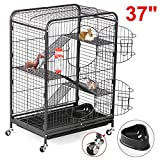 go2buy 4 Level Indoor Ferret Cage Hutch for Small Pets, Black