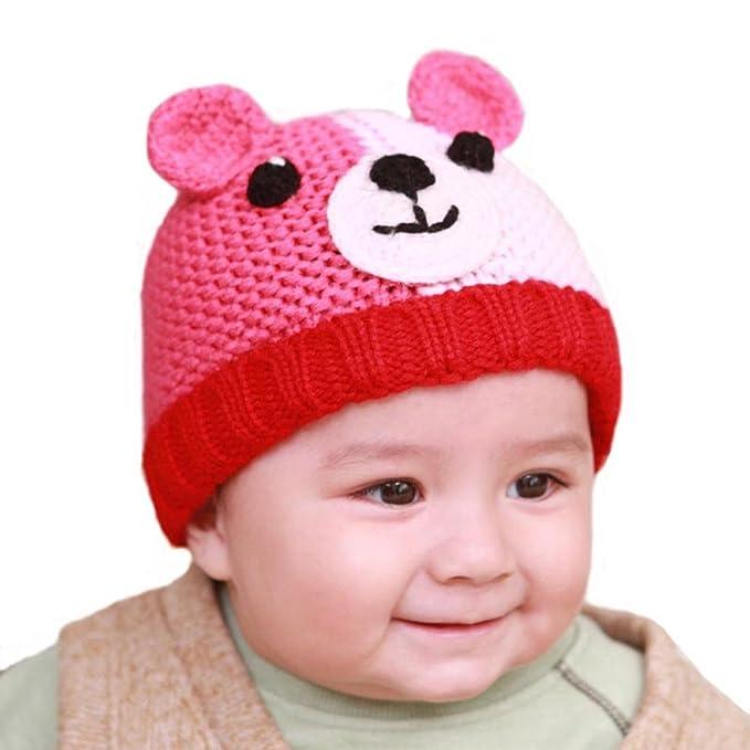 7fde0454e41 Amazon.com  BIBITIME Knitted Dog Ear Beanie Baby Winter Hat Crochet Eyes  Nose Puppy Warm Cap (Coffee Yellow
