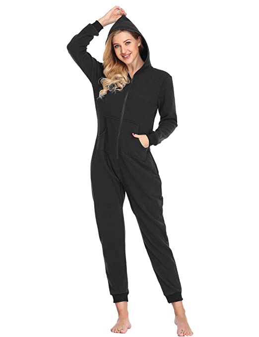 0aca3905f20e Womens Lazy Adult Onesie One-Piece Pajamas Hooded Non-Footed Jumpsuit  (Black